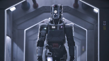 Weta's Luke Hawker oversaw the design of the robot suit, and wore it throughout the shoot.