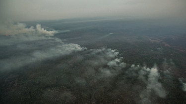 Fires burn in the Pantanal wetlands region in Mato Grosso state on Saturday.