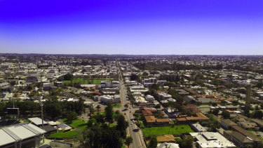 This drone image looks west over Highgate and Leederville, with Bulwer Street running down the centre. The photograph shows no notable  increase in building heights or density as you head north towards the city (just out of the frame on the left).