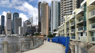 Repairs are needed for concrete planter boxes along a stretch of Brisbane riverwalk near Howard Smith Wharves.