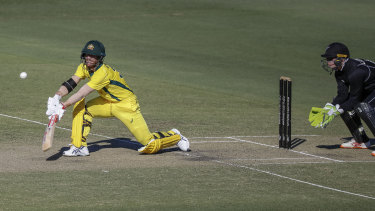 David Warner bats during Australia's practice match against New Zealand in Brisbane on Monday.