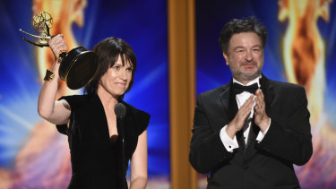 2018 Creative Arts Emmy Awards: Deborah Riley, left, and Paul Ghirardani accept the award for outstanding production design for a narrative period or fantasy program (one hour or more) Game of Thrones' 'Dragonstone'.