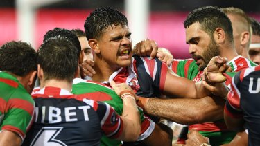 Spite night: Latrell Mitchell (centre) was never far from the action when tempers frayed on Friday night.