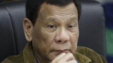 Philippine President Rodrigo Duterte last month.