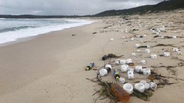 Waste washed up on a beach near Port Stephens.
