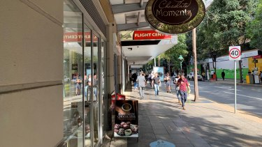 Chocolate Moments in Albert Street, days out from its closure after a running battle with the Cross River Rail Delivery Authority.