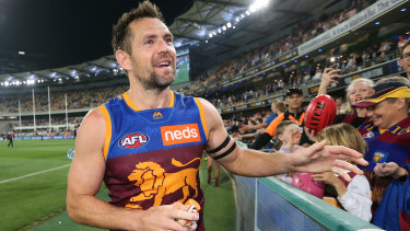 Over and out: Luke Hodge thanks fans at The Gabba after Brisbane's semi-final loss to GWS.