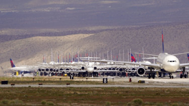 Delta Airlines aircraft parked at Victorville, California.