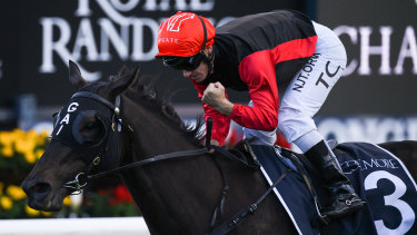 Tim Clark salutes on Con Te Partiro in the Coolmore Legacy Stakes.