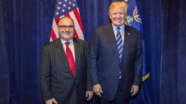 George Nader poses backstage with President Donald Trump at a Republican fundraiser in Dallas. Nader, a convicted paedophile, was told by the Secret Service that he could not meet the President.