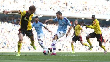 Rout: Bernardo Silva makes it six for City at Etihad Stadium.