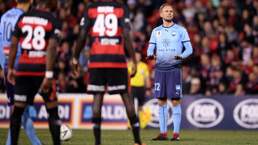 Dead-ball specialist: Siem de Jong prepares to take the free kick that he curled into the Wanderers' goal.