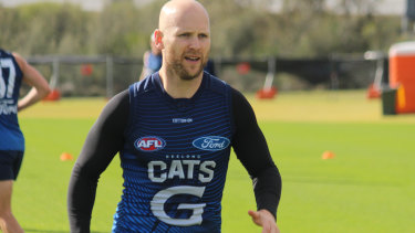 Gary Ablett trains at an oval near Optus Stadium in Perth. Picture: Geelong Football Club