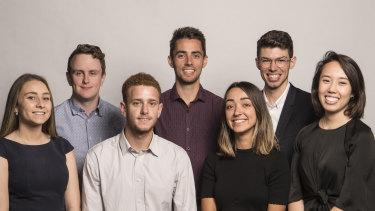 The Herald's 2018 trainees,  from left: Sarah Keoghan, Ben Weir, Max Koslowski, Josh Dye, Natassia Chrysanthos, Nick Bonyhady, Laura Chung. Absent: Matt Bungard.