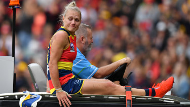 Best afield: Erin Phillips starred for Adelaide before being carried from the ground after suffering a knee injury.