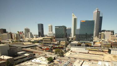 The view looking down on Yagan Sqaure from one of Doubletree Northbridge's rooms.