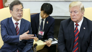 Donald Trump met with South Korean President Moon Jae-in on Wednesday to talk about the upcoming North Korea summit.