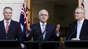 Prime Minister Malcolm Turnbull, Minister for Finance Mathias Cormann and Treasurer Scott Morrison
