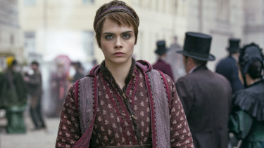 Cara Delevingne as Vignette Stonemoss in Carnival Row.