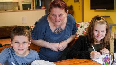 Katy Pearce is home schooling her children Devon and Chloe.