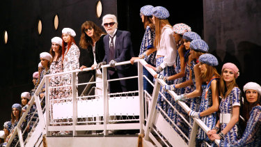 The late Karl Lagerfeld, pictured in May 2018, was a pioneer of lavish shows for Chanel's cruise collections.