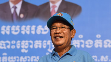 Cambodian Prime Minister Hun Sen pictured on Friday at his last rally before the election.