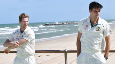 Sunny times ahead? Steve Smith and Pat Cummins at Glenelg in Adelaide.