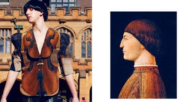 """Violin Jacket"" (left) from 2010's ""Renaissance Dinosaur"" collection, was inspired by Renaissance master Piero della Francesca's ""Portrait of Sigismondo Pandolfo Malatesta""(c. 1451), at right."