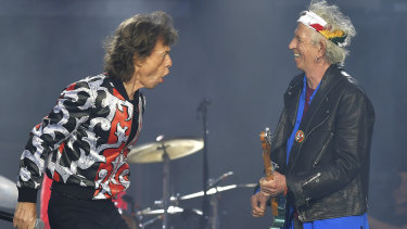 Mick Jagger, left, and Keith Richards, of The Rolling Stones, performing in London in May, 2018.