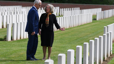 Anzac Day is often a time for political leaders to visit foreign battlefields. Then Prime Minister Malcolm Turnbull and Lucy Turnbull visit the grave of her grand uncle at Heilly Station cemetery near Amiens.