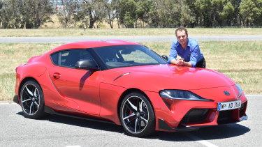 RAC Australia's best cars WA judge Alex Forrest with the Toyota Supra