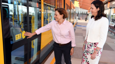 Premier Annastacia Palaszczuk and deputy premier Jackie Trad on the Gold Coast Light Rail project.