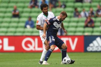 Victory's Callum McManaman takes on Newcastle's Nikolai Topor-Stanley.