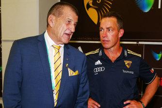 Turbulent relationship: Hawthorn president Jeff Kennett and coach Alastair Clarkson.