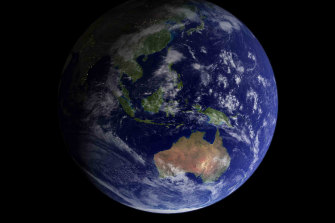 """Earth, dubbed the """"Blue Marble"""", as seen by the Apollo 17 crew in 1972.  This image resonated with people worldwide."""