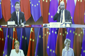 European Council President Charles Michel, top right, speaks with China's President Xi Jinping, top left, European Commission President Ursula von der Leyen, bottom right, and German Chancellor Angela Merkel, bottom left, during a virtual summit in September.