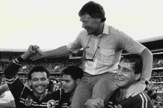 Manly coach Bob Fulton is carried from the SCG after Manly beat Canberra in the 1987 Grand Final.
