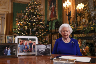 Queen Elizabeth II in her annual Christmas broadcast at Windsor Castle.