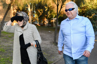 Con and Liudmila Petropoulos leaving Geelong Magistrates Court in 2019.