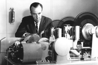 High-tech: Gordon Gow, the voice of  'George' the talking clock when it was mechanised in 1953.