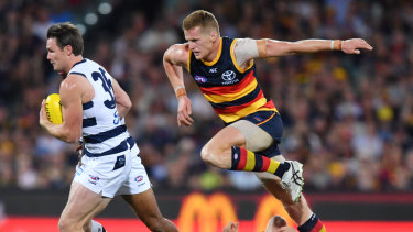 And he's off: Geelong superstar Patrick Dangerfield has a field day against the Crows at Adelaide Oval.