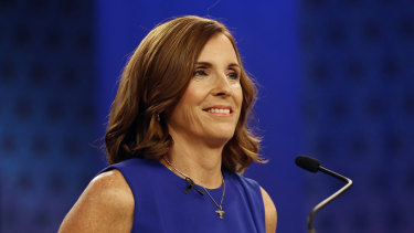 Then-congresswoman Martha McSally, prior to a televised debate in 2018.