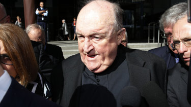 Former archbishop Philip Wilson outside Newcastle court in August.