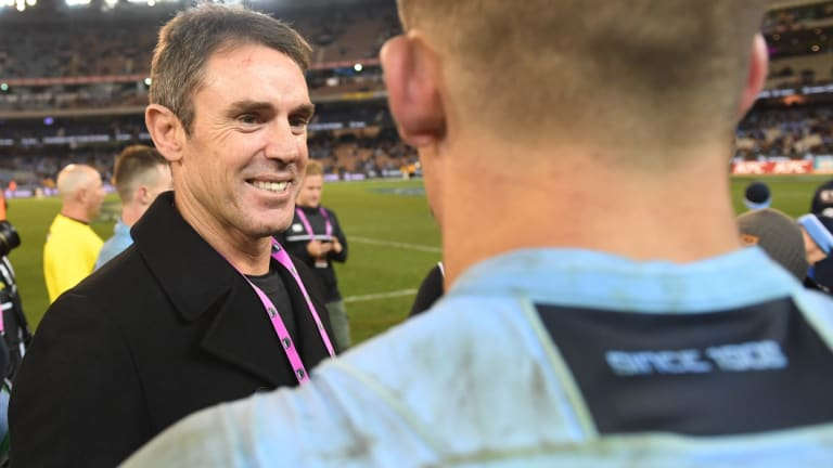 Relief: Brad Fittler was a wreck after his first game as NSW coach.