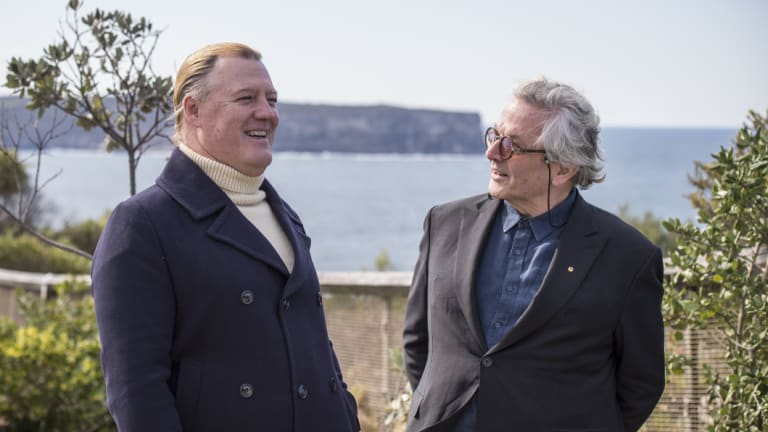 From left, James Hanson, great-great-great-grandson of Henry Johnson, brother of James Johnson, who was rescued off the cliffs at South Head, speaks to Australian filmmaker George Miller  at a ceremony commemorating the rescue.