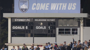 The scoreboard in the A-League semi-final between Sydney FC and Melbourne Victory.