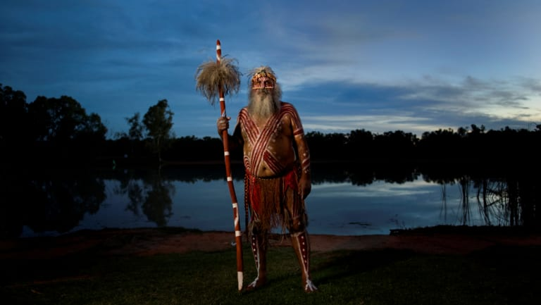 "Ngarrindjeri elder Major ""Moogy"" Sumner at the junction of the Darling and Murray Rivers when he traveled the length of the system in 2010."