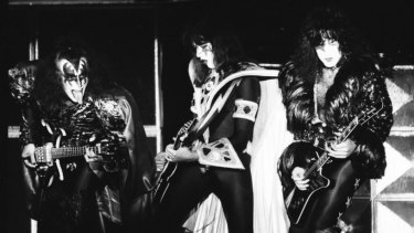 Kiss on stage in Melbourne in 1980 at VFL Park in Waverley.