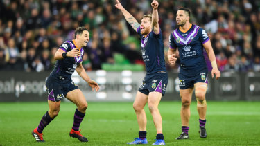 Making a point: Cameron Munster reacts after sealing victory for the storm with a field goal.