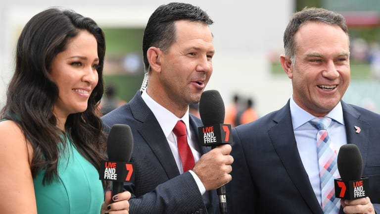 Slick Rick: Ponting, centre, is making his mark as a Test commentator for Seven.